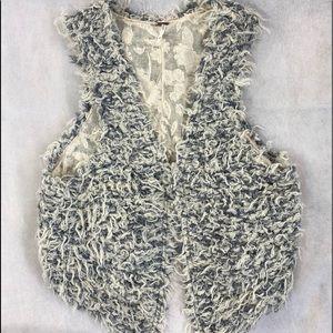 Free People Gray Fuzzy Vest XS
